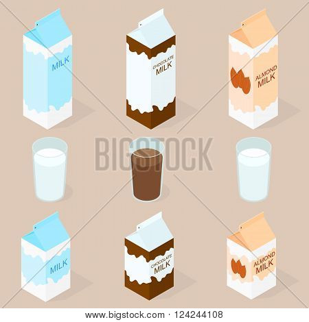 Package of almond milk chokolate milk and cow milk. The isometry. The glass of milk. Vegan and vegetarian food. Natural product. Healthy food. Milkshake in a glass. Big and small box. Vector illustration.