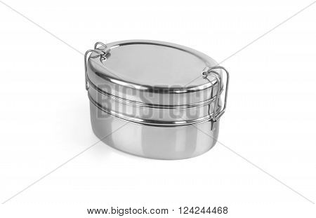 Stainless Steel Tiffin Box Isolated on White Background poster