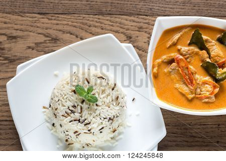 Thai panang curry with mix pf white and wild rice