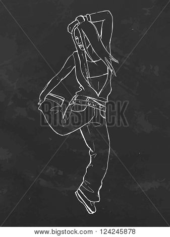 Chalk board hand drawn vector stock illustration