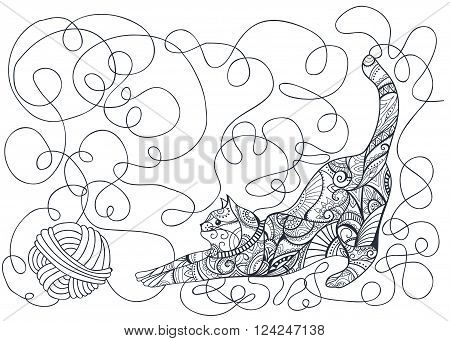 Cat. Decorative cat. Animal. Coloring book. Coloring page - zendala design for spiritual relaxation for adults vector illustration isolated on a white background. Zen doodles. Hand drawn doodle outline vector cat illustration decorated with abstract ornam