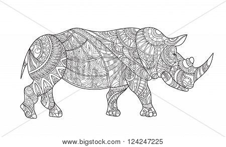 Drawing zentangle rhino for coloring page. Rhinoceros vector with elements oriental motif. Black and white rhinoceros. Anti stress Coloring Page Vector monochrome sketch. Shirt design effect logo tattoo and decoration