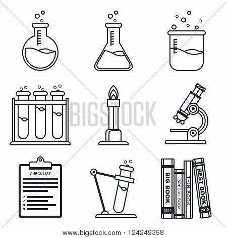 Black lineart icon set. Chemistry vector icons. Science. Vector illustration in eps10