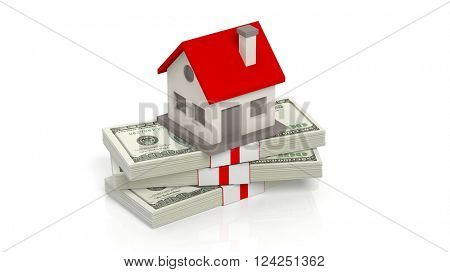 House set on 100 Dollar banknotes in stack, isolated on white background, 3d rendering
