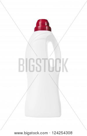 Softener in White Plastic Bottle Isolated on White Background. Bottle with Liquid Laundry Detergent, Cleaning Agent, Leach or Fabric Softener. Clipping Path Included.