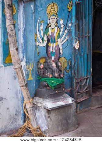 Trichy, India - October 15, 2013: Painting on shrine wall at Amma Mandapam of Vishnu-Durga goddess. Powerful image of Vaishnavism.