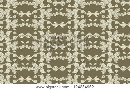 Vector seamless pattern with vintage leaf ornament.