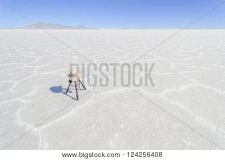 A tripod sits on the Bonneville Salt Flats