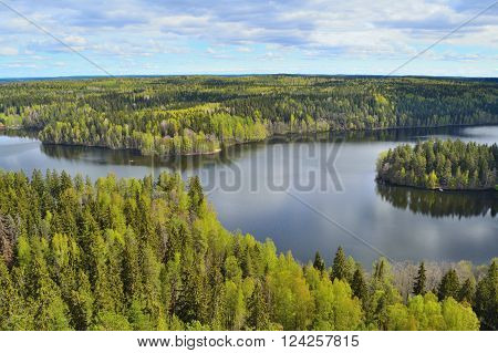 Beautiful nature of Finland in a spring day