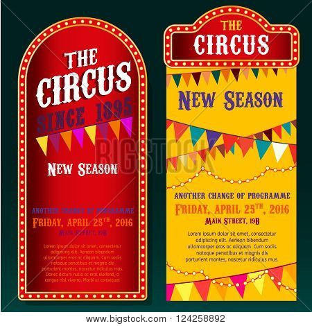 Vector vintage circus backgrounds in bright red, yelow and violet colors with illuminated elements. Editable retro illustration useful for a poster, banner, advertisement or placard graphic design