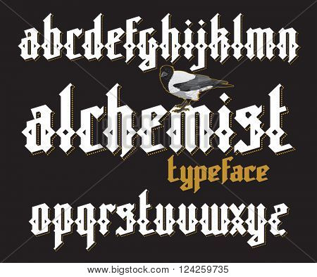 Alchemist modern custom gothic alphabet font. Alchemist magic vector font set