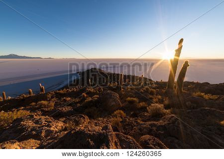 The Rising Sun Over Uyuni Salt Flat, Bolivia