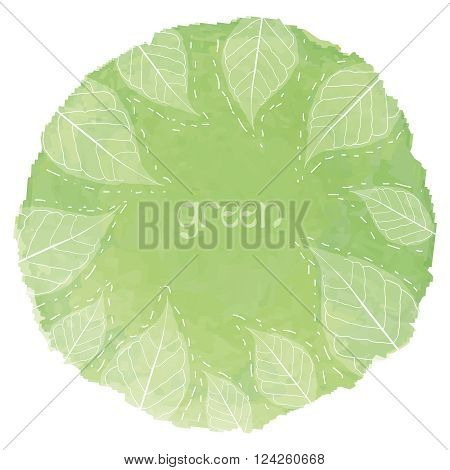 Vector green watercolor drop with leaves shape on in