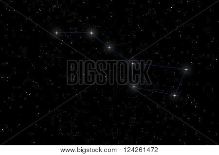 Big Dipper Constellation, Ursa Major, The Great Bear with constellation lines
