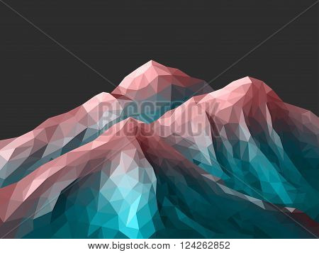Low-Poly Mountain Landscape. Gradient Rose Quartz - Limpet Shell. Low poly design. Abstract polygonal illustration.