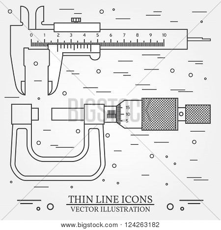 Set vector thin line icons caliper and micrometer. For web design and application interface also useful for infographics