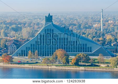 Riga, Latvia - 15 October, 2015: The building of the Latvian National Library on the banks of the Daugava River in Riga.