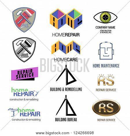 Set of repair service or constuction vector logo. Home repair concept emblems