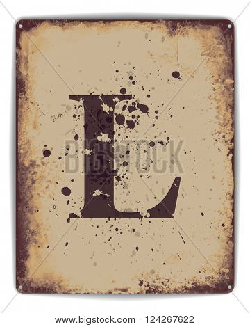 Retro tin plate style poster with capital letter L monogram. EPS10 vector format