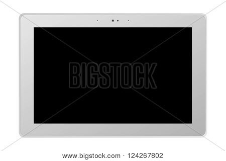 A white tablet with a dark screen