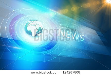 Global International Connections News Background World Map with Concentric Waves circles Around the Earth Globe Futuristic News Background with Lens Effect.