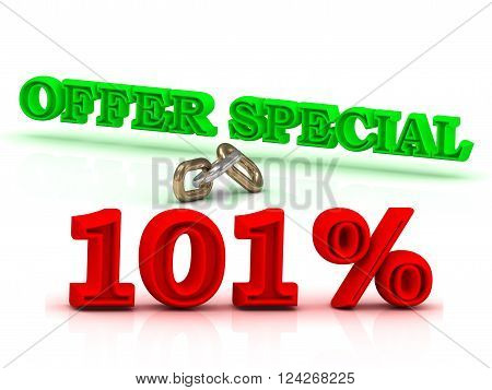 101 PERSENT OFFER SPECIAL business icon green keywords isolated on white background
