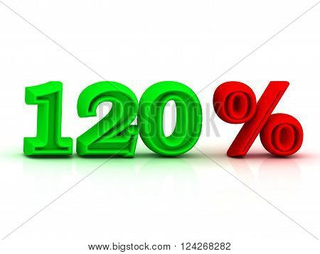 120 PERSENT business icon discount green and red keywords isolated on white background