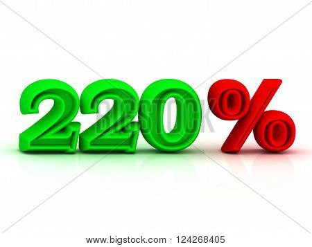 220 PERSENT business icon discount green and red keywords isolated on white background