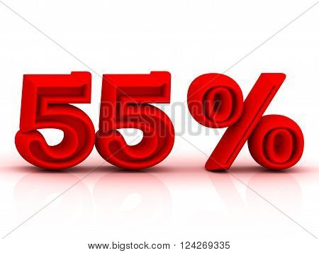 3D illustration 60 PERSENT DISCOUNT business icon Bright red keywords isolated on white background