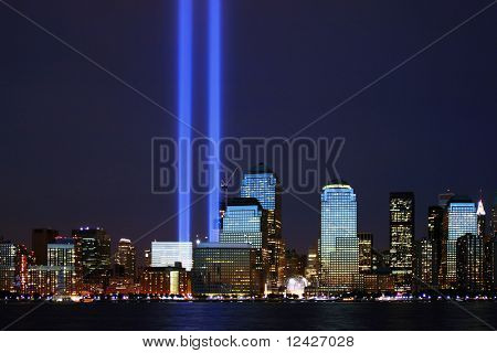 twin towers of light in lower Manhattan in honor of the 3rd anniversary of 9/11