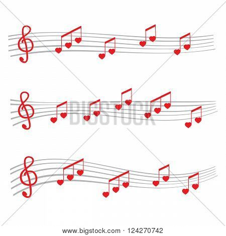 Musical notes and chords heart. 10 eps vector illustration