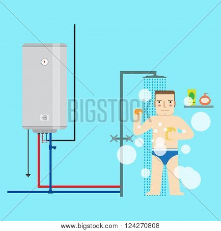 Electric Water Heater And Man In The Bathroom Taking A Shower. Flat Icon For  Web Design And Applica
