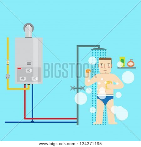 Gas Water Heater And Man In The Bathroom Taking A Shower. Flat I