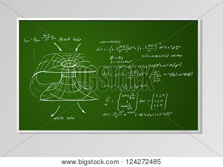 Hand drawn formulas and graph on a green chalkboard seamless background. Schwarzschild metric Wormhole black hole