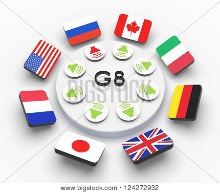 flags group of eight g8 group of seven g7 3d