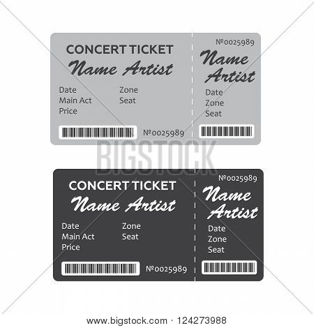 Set of Colorful Concert Tickets. 10 eps vector illustration