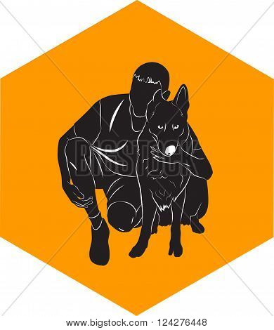 guy silhouette that hugs the dog. Vector illustration