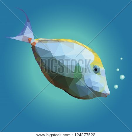 Polygonal illustration of a tropical unicornfish. Triangle low polygon style. Beautiful geometrical illustration of white and yellow orange spine unicorn fish with air bubbles on blue sea background