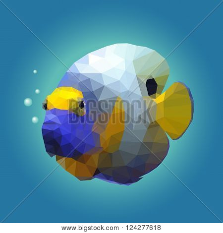 Polygonal illustration of a tropical angelfish. Triangle low polygon style. Beautiful geometrical illustration of colorful blue and yellow angel fish with air bubbles on deep blue sea background