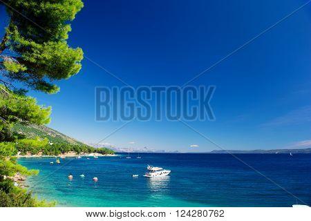 Beautiful Summer Adriatic Sea coastline view with pine and yacht, island Brac, Croatia