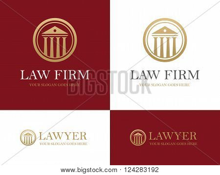 Golden round icon with antique building with columns. Can be used as logo for law firm or company lawyer office courthouse university or bank design concept