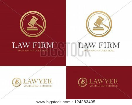 Golden gavel round icon for law firm or company lawyer office legal and justice concept logo design