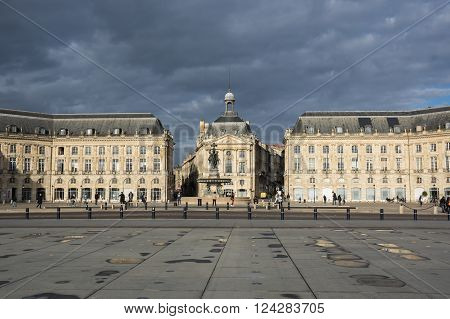 BORDEAUX FRANCE - MAY 06 2015: Place de la Bourse in Bordeaux. Bordeaux is a port city on the Garonne river in southwestern France