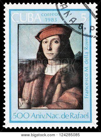 CUBA - CIRCA 1983 : Cancelled postage stamp printed by Cuba, that shows Portrait of Francesco Maria I della Rovere, circa 1983..