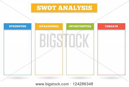 Simple colorful chart for SWOT analysis - box for strenghts weaknesses opportunities and threats