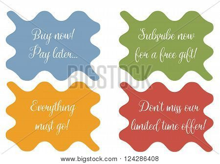 Set of 4 wavy banner stickers minibackground with sale texts - Buy now! Pay later... Subsribe now for a free gift Everything must go Don't miss our limited time offer