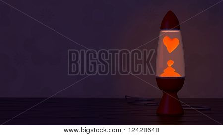 Retro Lava Lamp With Heart Shaped Lava Blob