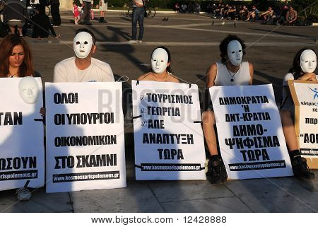 White-masked Protesting In Athens