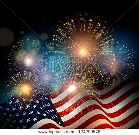 United States flag. Fireworks background for USA Independence Day. Fourth of July celebrate poster