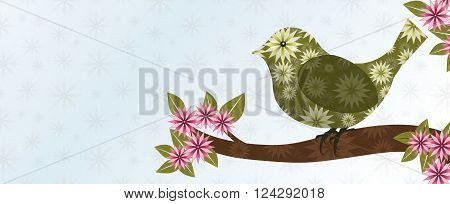 Green Textured Bird on Limb with Pink and Red Star Shaped Blossoms
